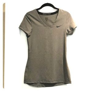 Nike Pro Gray Dri-fit short sleeve top Sz M